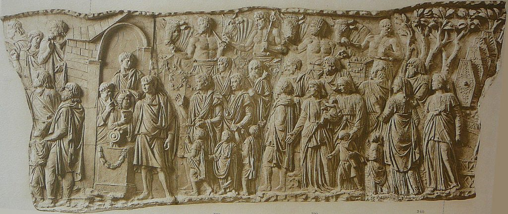 Trajan is greeted by some barbarians